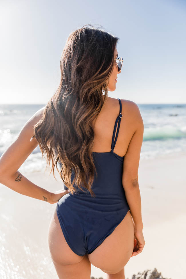 Meet Me At Waikiki Navy One Shoulder Swimsuit