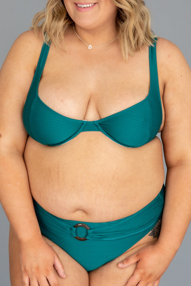 Ocean View Green Underwire Ribbed Bikini Top
