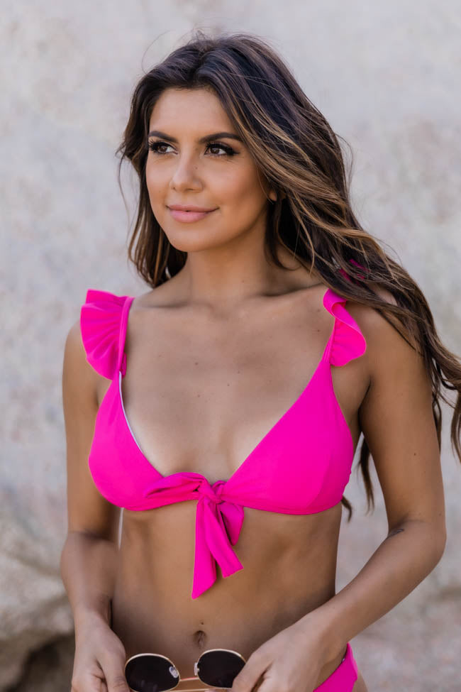 Beach Retreat Ruffle Pink Bikini Top