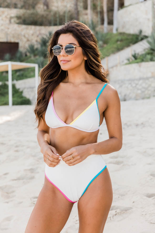 Vitamin Sea Rainbow White Ribbed Bikini Bottoms