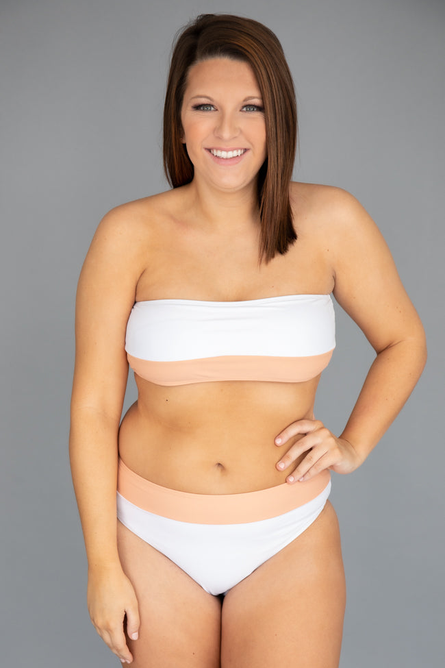 Chasing The Sun Bandeau Swimsuit White Top