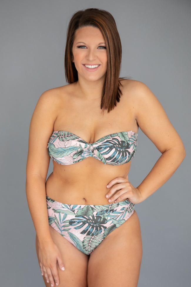 Sea Of Love Leaf Print High Waisted Swim Bottoms