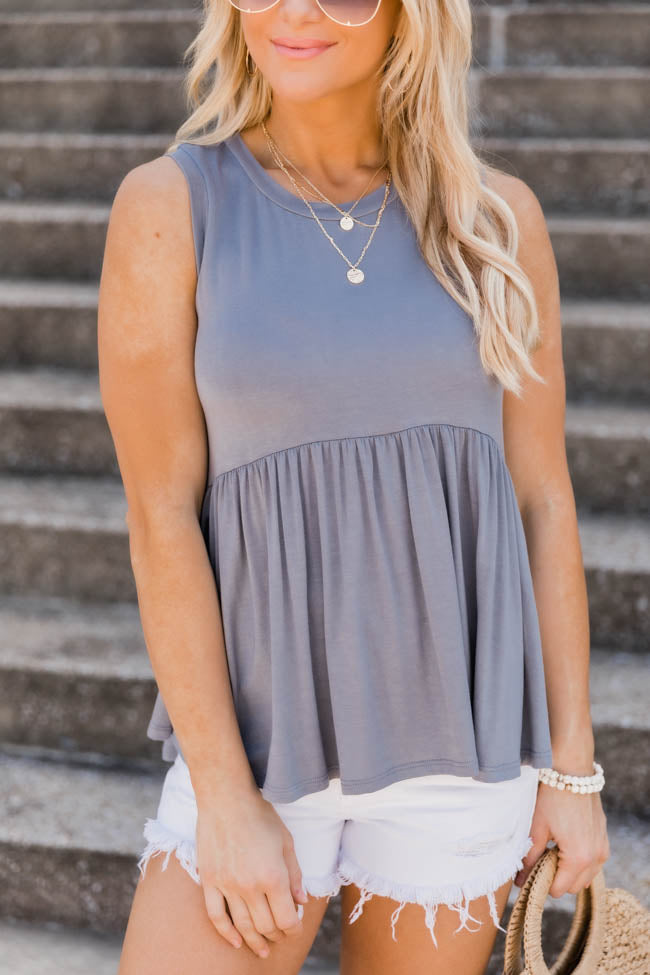Hometown History Peplum Grey Tank