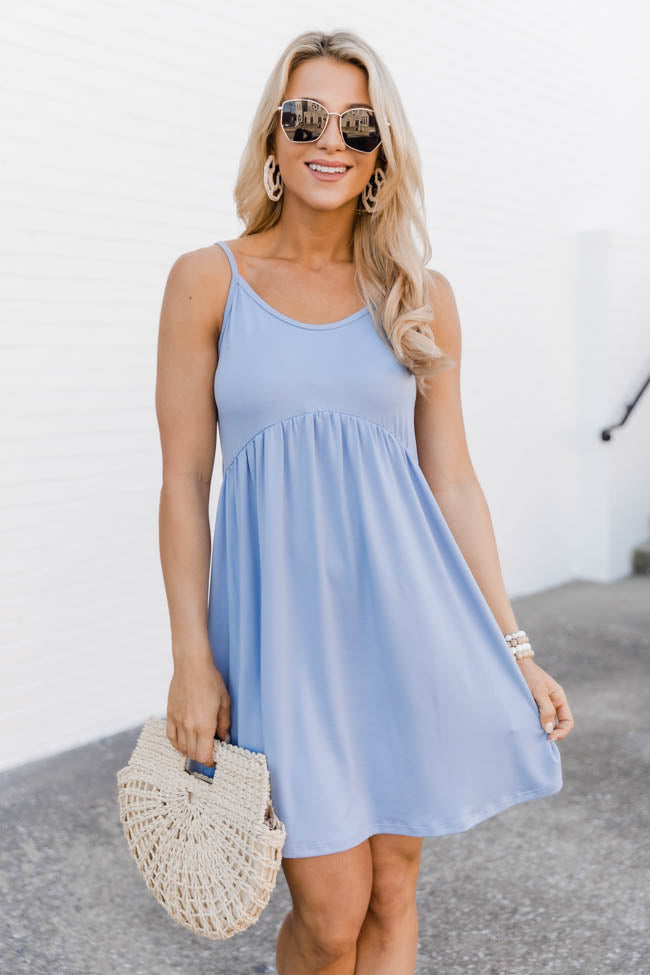 Dancing Downtown Babydoll Periwinkle Dress