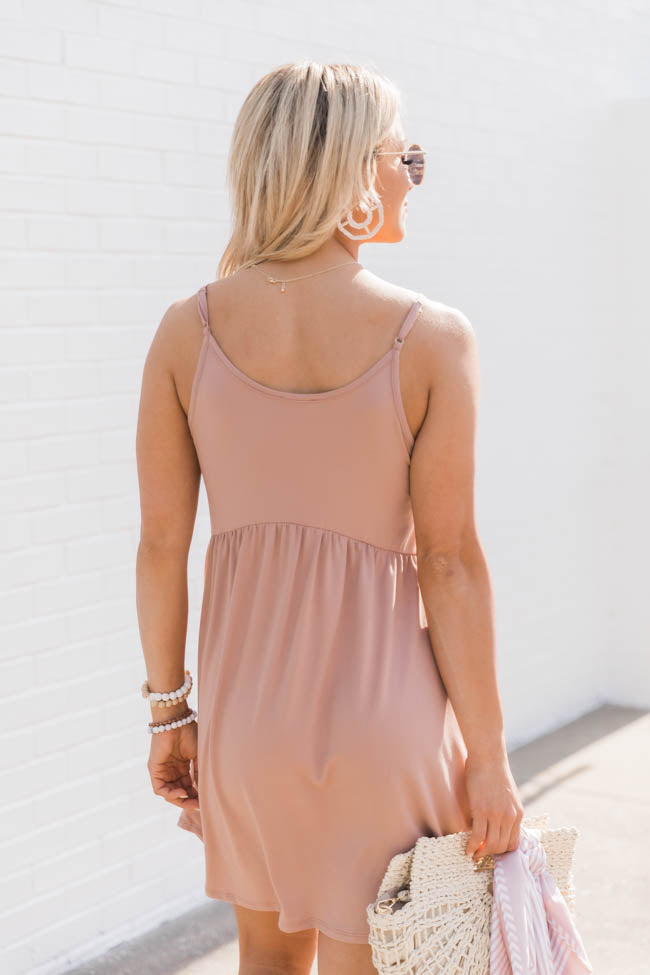 Dancing Downtown Babydoll Taupe Tank Dress