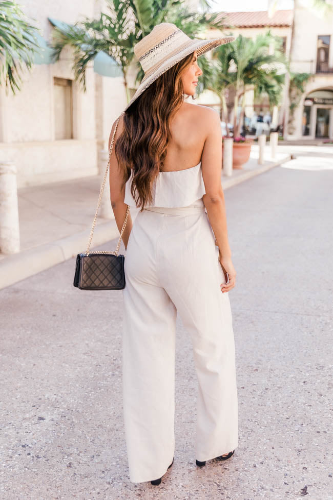 Glorious Days Linen Strapless Taupe Jumpsuit