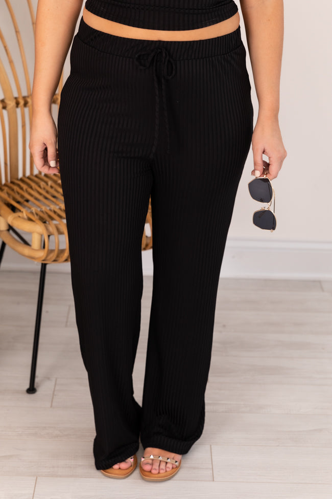 Different Opinions Ribbed Black Pants