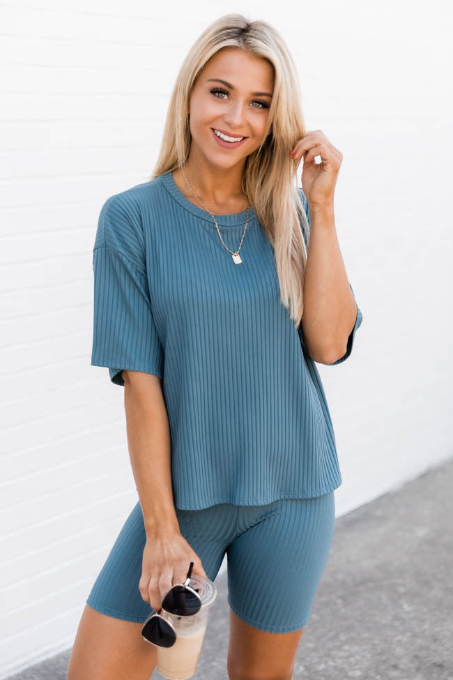 Our Last Chance Ribbed Blue Blouse