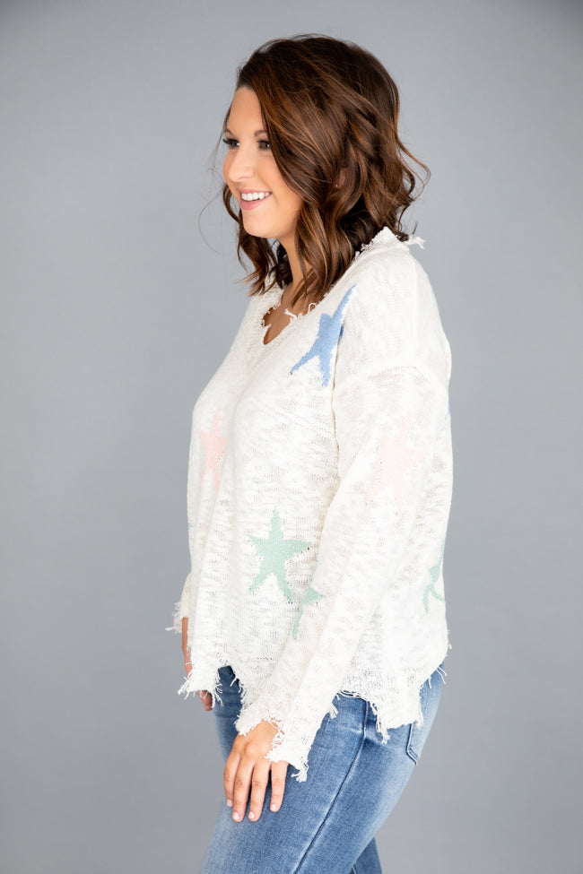 Shine Bright Star Distressed White Sweater