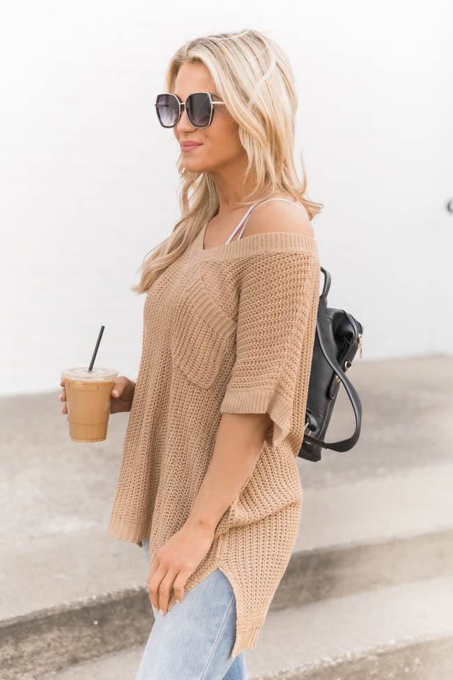 Undoubting Love Open Knit V-Neck Taupe Sweater