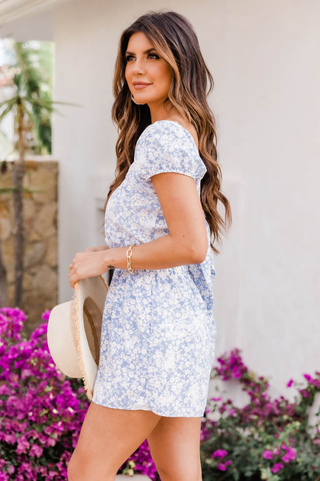 This Is Fate Floral Print Blue Romper