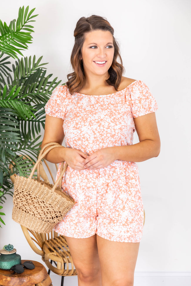 This Is Fate Floral Print Peach Romper