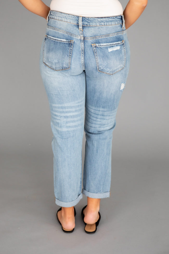 Libby Distressed Boyfriend Medium Wash Jeans