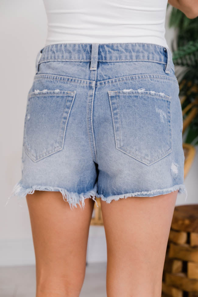Know Your Heart Distressed Medium Wash Shorts