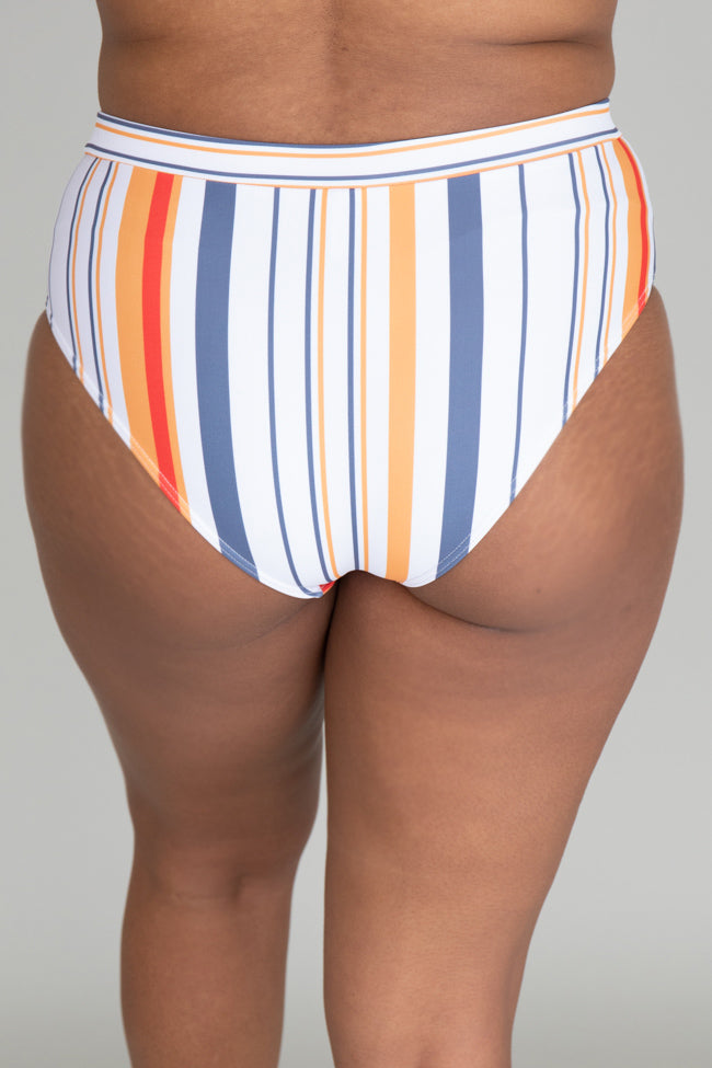 Brightest Days Grey Striped Bikini Bottoms