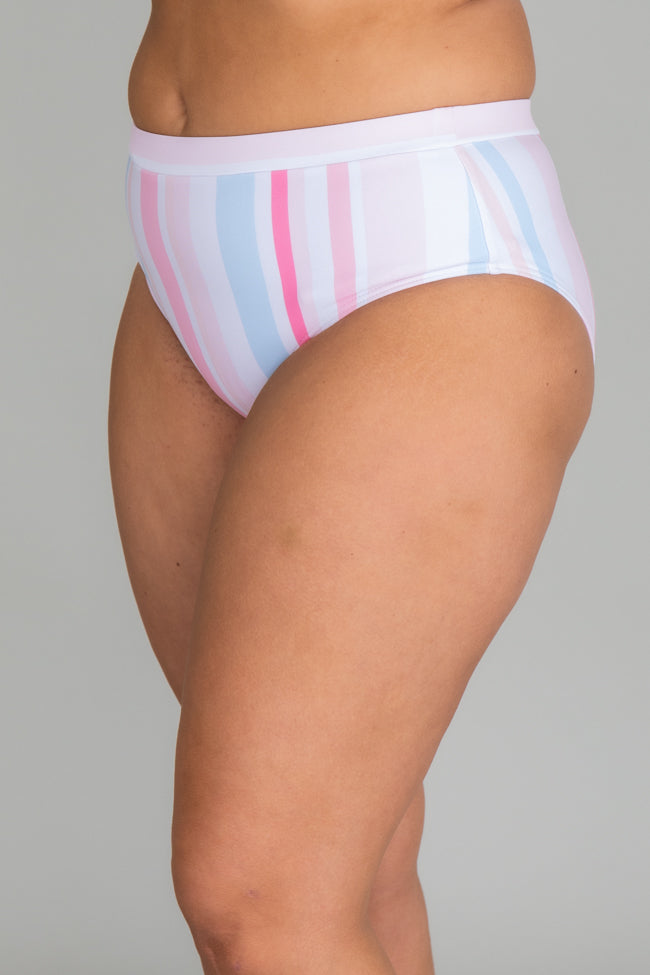 Brightest Days Pastel Pink Striped Bikini Bottoms