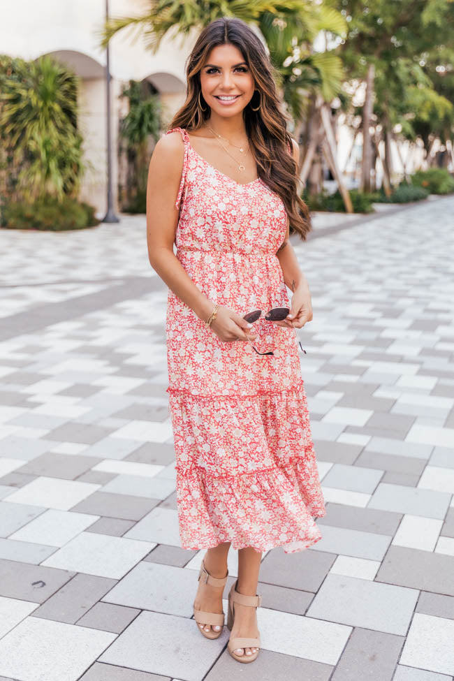Make Time Last Floral Midi Red Dress
