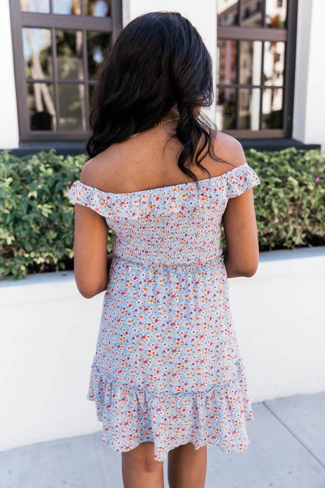 Our Endearing Love Floral Blue Dress