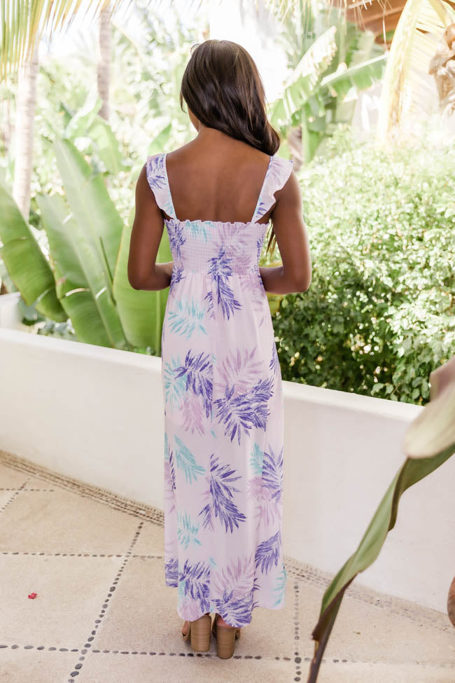Follow The Tune Leaf Print Pink Multi Maxi