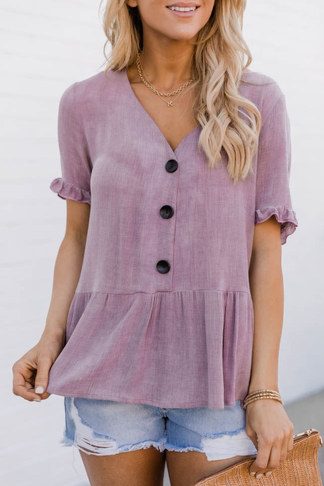 Bring Back My Love Peplum Mauve Blouse