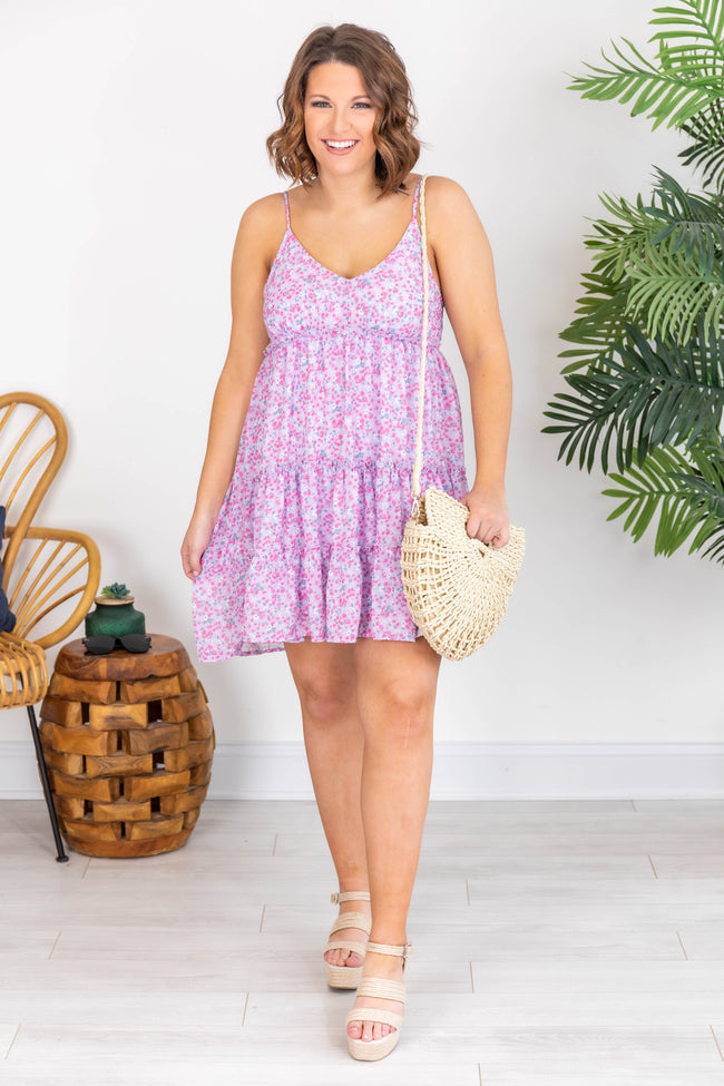 Looking for Adventure Ditsy Floral Tiered Purple Dress