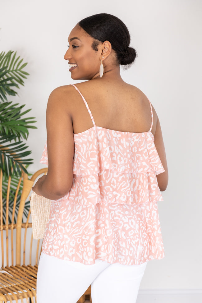 Better Than The Rest Spotted Tiered Peach/Ivory Tank