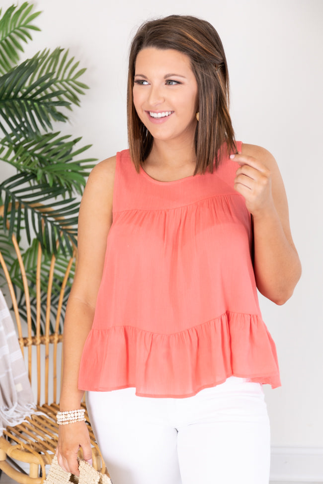 Second Opinion Pink Knit Tiered Tank