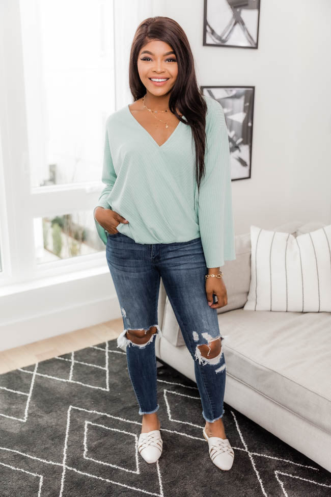Definition Of Perfection Wrap Mint Blouse