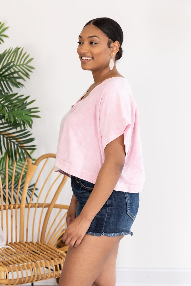 Look Into The Past V-Neck Cropped Pink Blouse