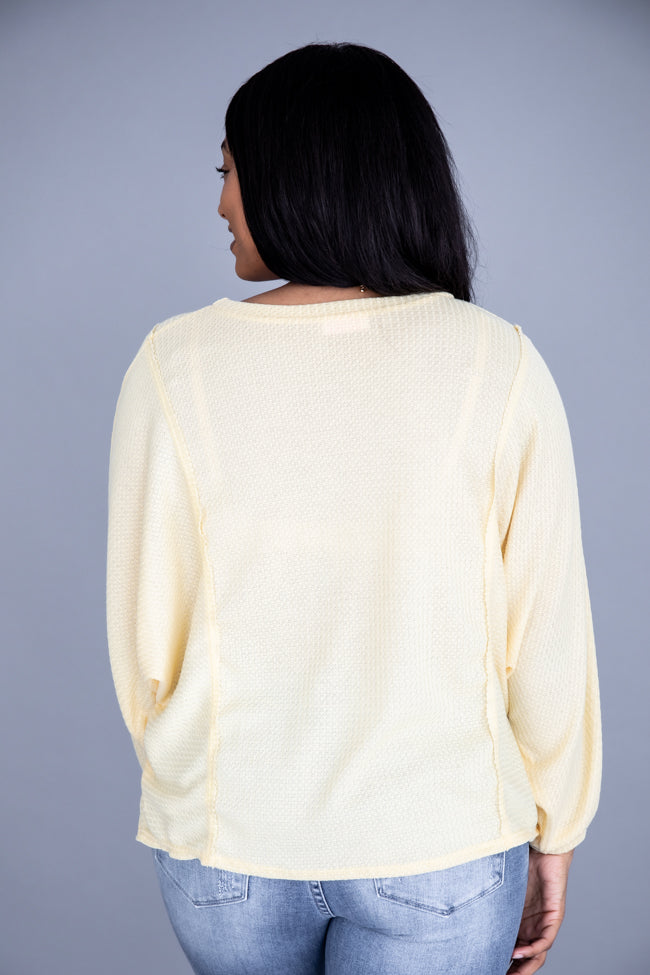 Dream Out Loud Waffle Knit Yellow Blouse