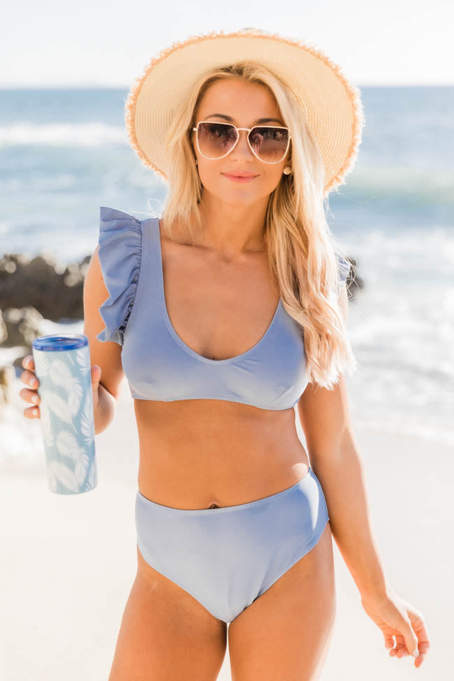 High Tide Blue Ruffle Bikini Top