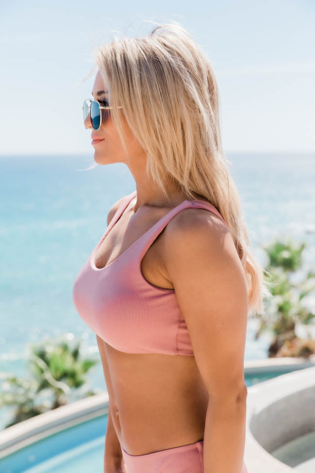 Adrift At Sea Mauve Ribbed Bikini Top
