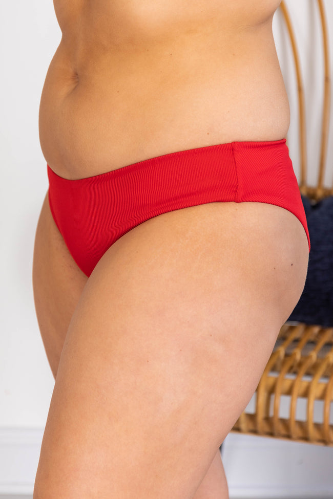 Adrift At Sea Red Ribbed Bikini Bottoms