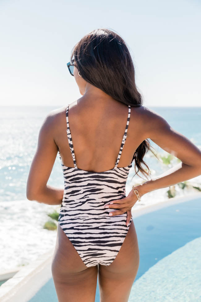 Seashell Song Zebra Print One Piece Taupe Swimsuit