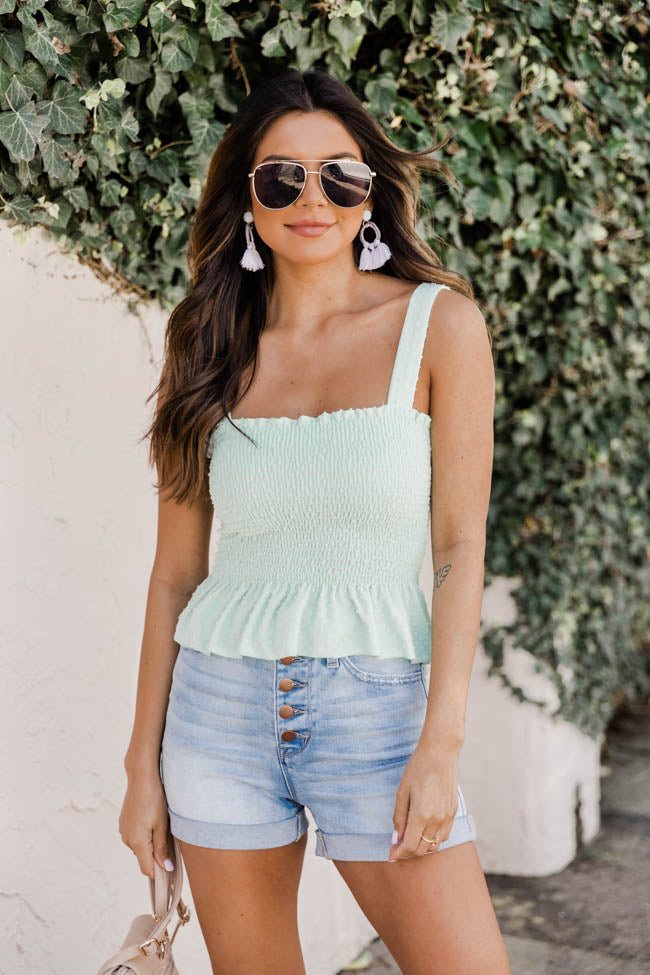 Nothing Has Changed Smocked Peplum Mint Tank