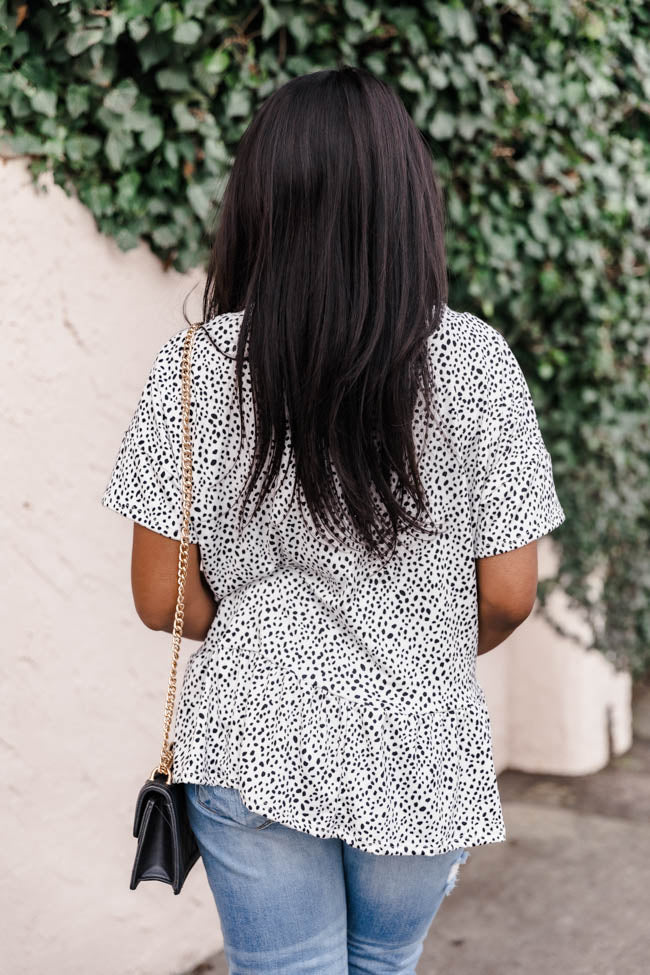 Forever In My Mind Spotted Peplum Ivory/Black Blouse