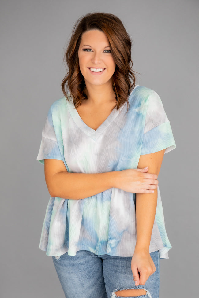 Worth The Wait Tie Dye Peplum Blue/Green Blouse