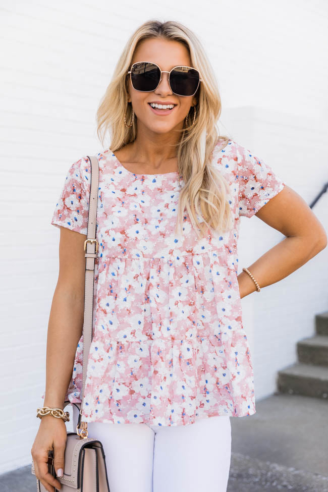 Sweet Ideas Floral Babydoll Pink Blouse