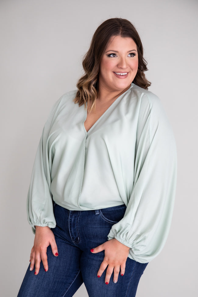 Walk This Way Wrap Sage Blouse
