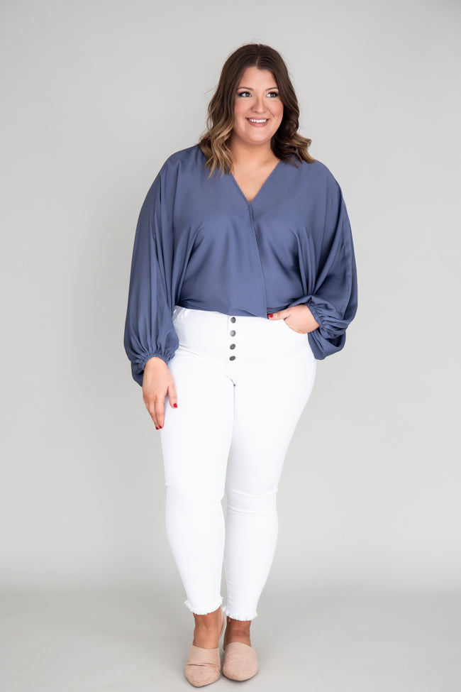 Walk This Way Wrap Blue Blouse