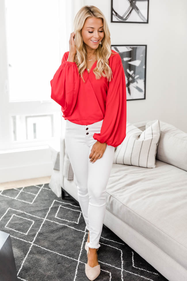 Walk This Way Wrap Red Blouse