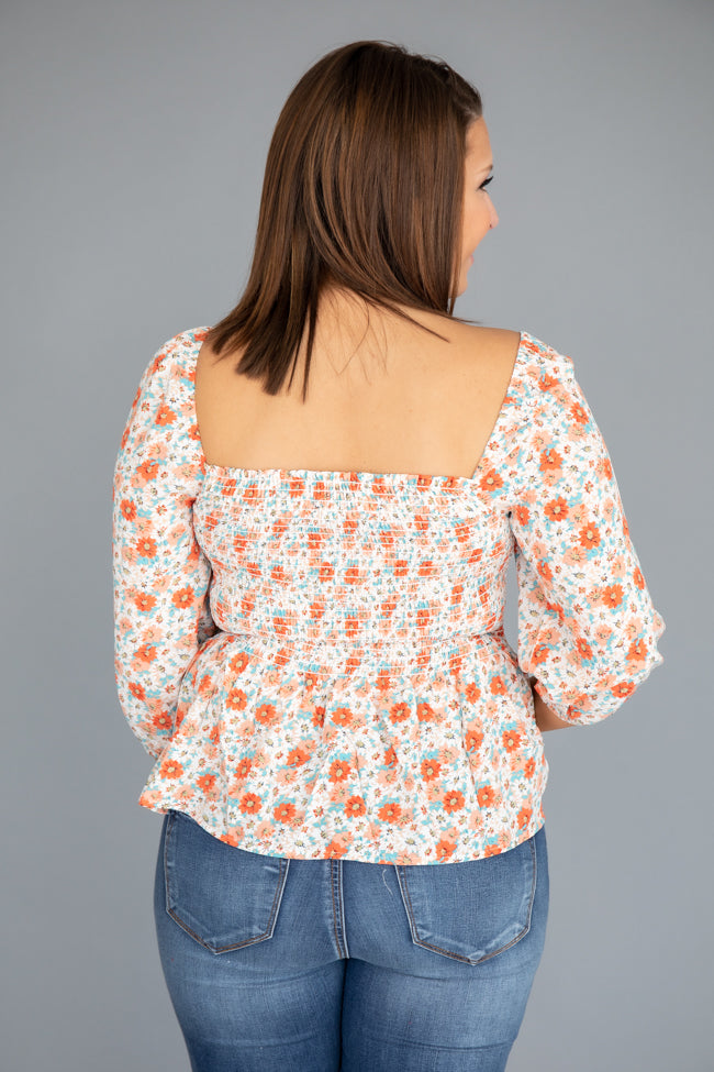 Just Break Away Floral Coral Blouse