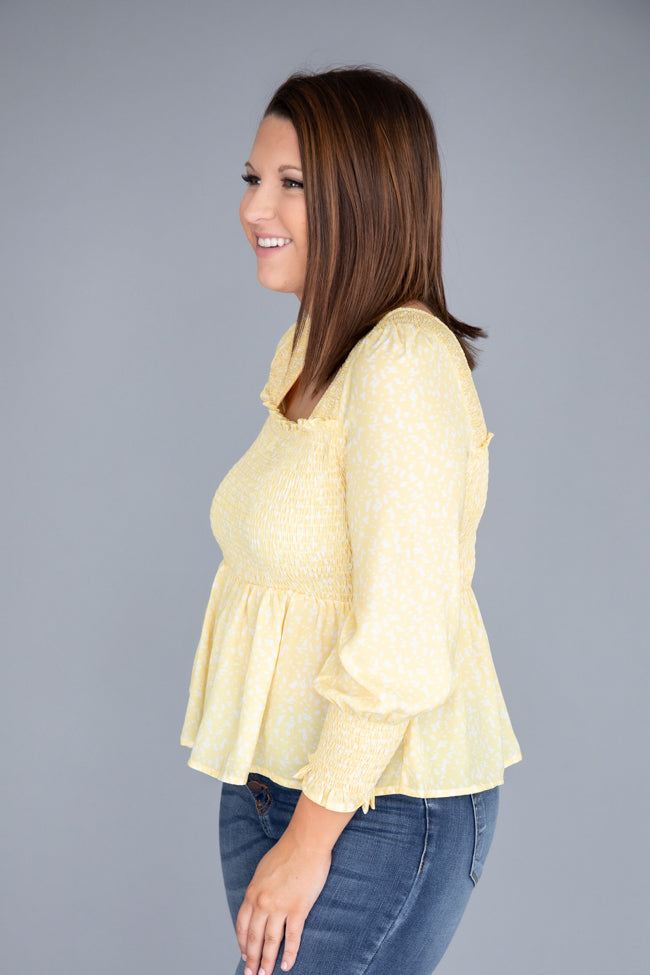 Floral Visions Smocked Yellow Blouse