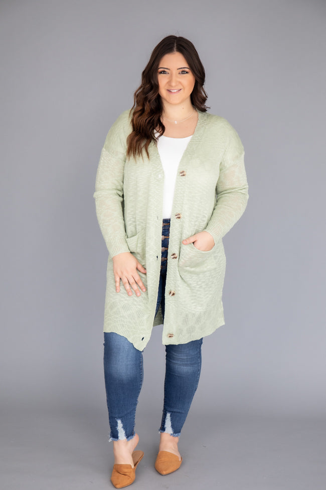 Take Your Time Open Knit Sage Cardigan