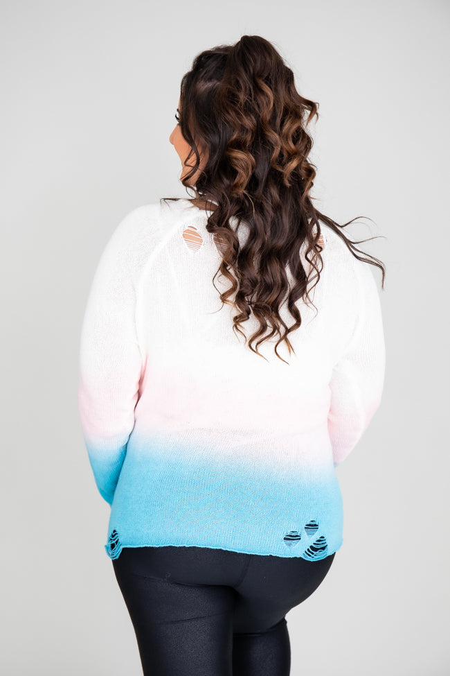 Fading Dream Ombre Distressed Sweater