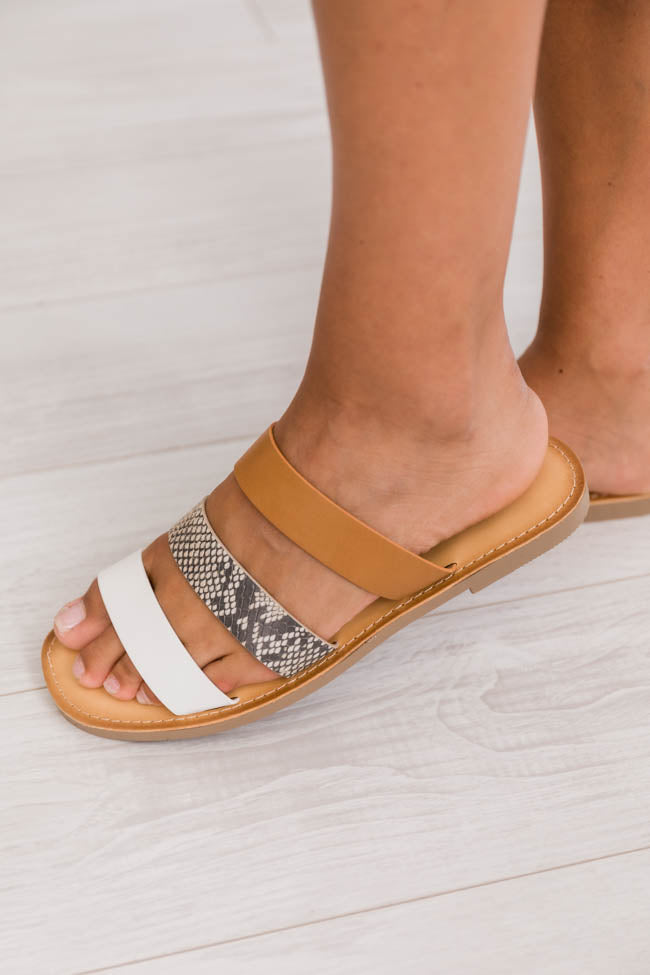 Talulla Three Strap Snakeskin Sandals