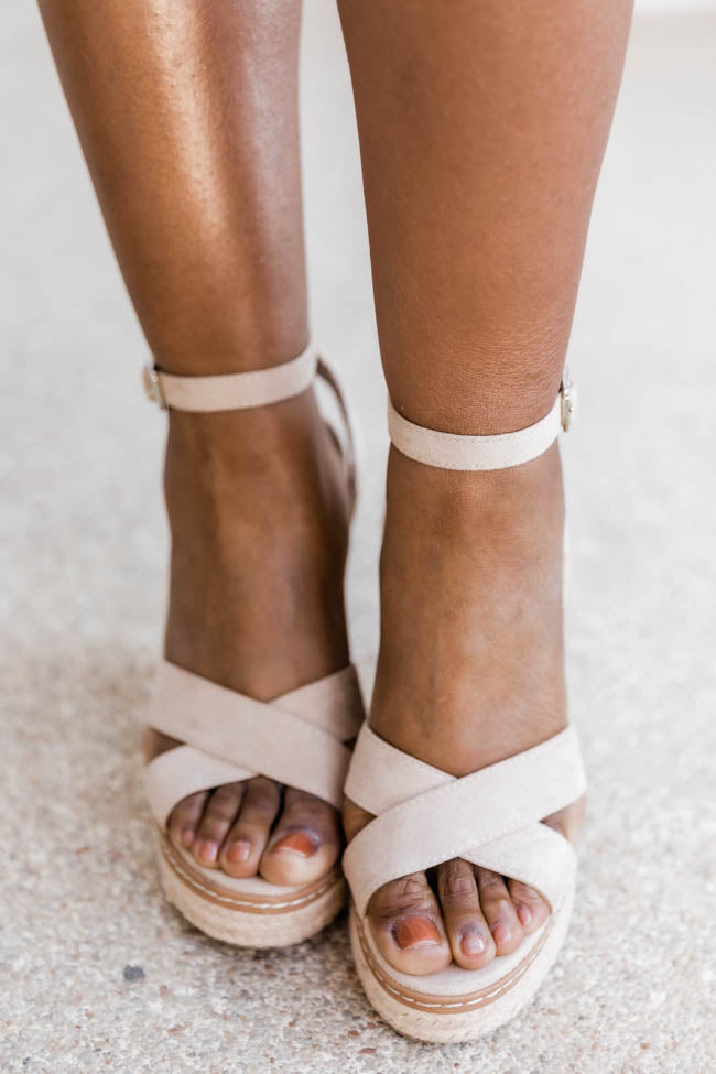 Shannon Cross Strap Oatmeal Wedges