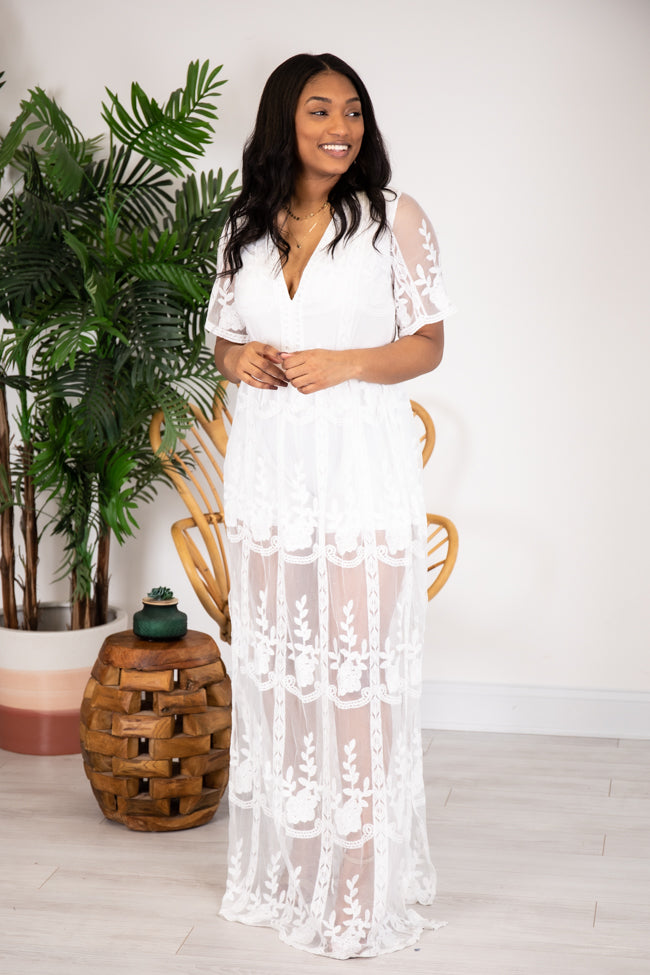 Crossing Paths Lace Maxi Ivory Romper
