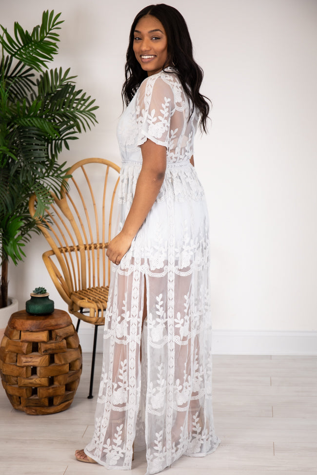 Crossing Paths Lace Maxi Grey Romper