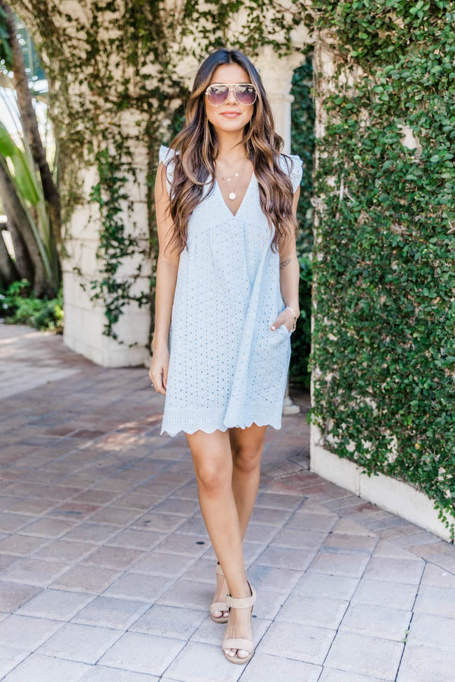 You Found My Heart Light Blue Lace Romper
